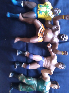 Hard rubber wrestlers from WWF
