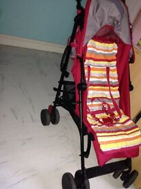 Pushchair red with stripes