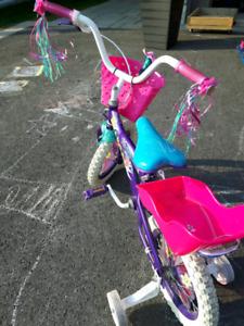 Vélo fille mauve et rose