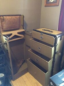 Large antique weary travel wardrobe trunk