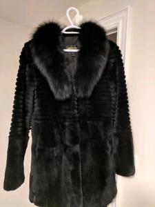 Real fur coat , rabbit fur with fox collar (M)