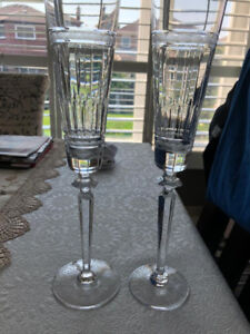 Two gold plated rim crystal champagne glasses