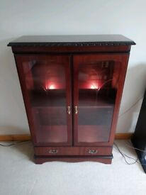Wooden glass fronted display/drinks cabinet