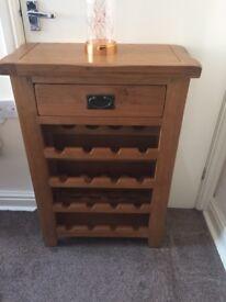 Oak wine rack with top draw