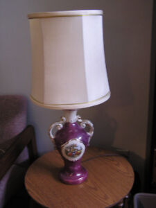 Porcelain Lamp Courting with gold trim, Brass Animal Hooks