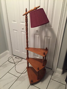 Vintage Maple Table Lamp with attached Lamp