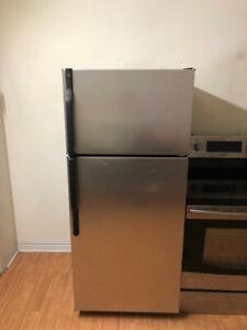 GE stainless steel top freezer bottom fridge 30w3d66h