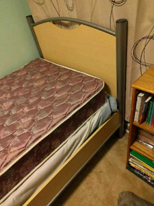 Solid twin bed frame and slats