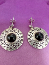 LADIES NEW, LARGE SILVER, HAND PIERCED, AND HAND CRAFTED, EARRINGS