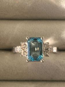 Natural Earth Minded Aquamarine & Diamond Ring