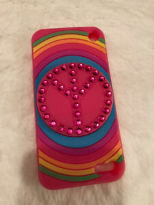 couvercle pour Iphone 5 et 5S rose peace and love