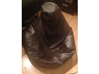 Faux Leather Brown Seat Sofa Chair Bean Bag with Filling