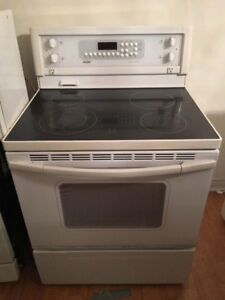 "Kenmore quick sale white 30"" electric glass top stove range oven"
