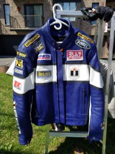 Veste de cuir de Moto Sport ICON de grandeur 44