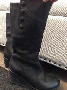 Miz Mooz Black Leather Boots size 8.5