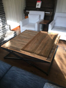 Antiqued Wood & Iron Coffee Table