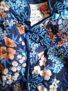 Set of two 100% pure silk vintage Chinese jackets, Peony brand