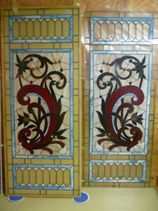TWO BEAUTIFUL LARGE STAINED GLASS PANELS