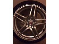 Brand new set of Wolfrace alloy wheels. All brand new tyres. 205/40/17. 4x100. 4x108.