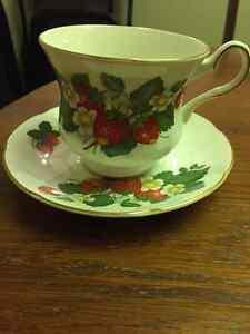 Strawberry Tea Cup and Saucer by Royal Grafton Fine Bone China Edmonton Edmonton Area image 1
