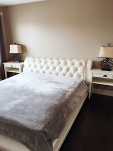 KING BED AND END TABLES