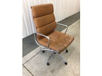 Charles Eames Herman Miller tan leather Soft Pad chair.