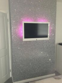 Silver Sparkle Glitter Canvas Material DELUXE Chunky Wallpaper Covering GL21