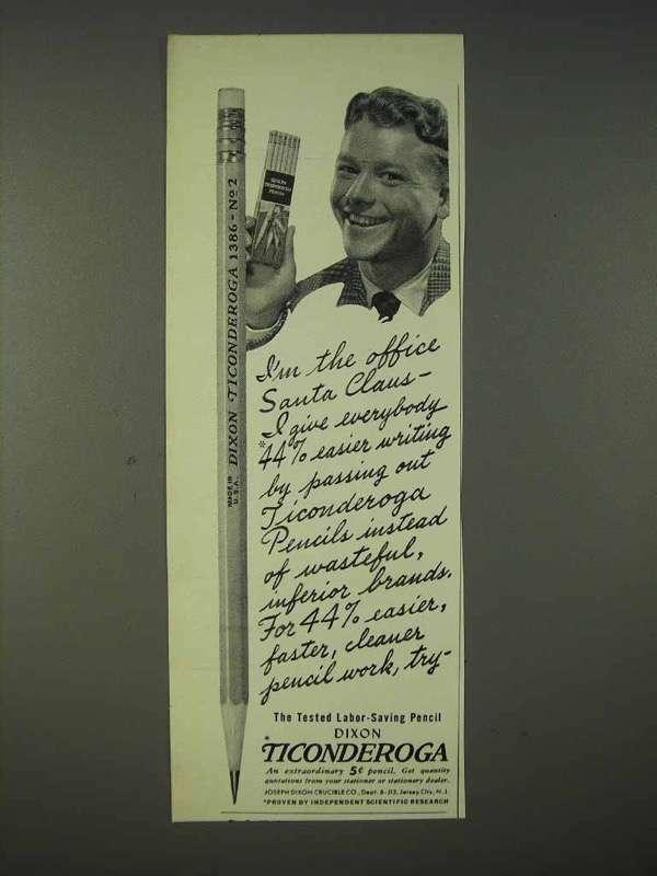 1940 Dixon Ticonderoga Pencil Ad - Office Santa Claus