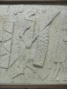 "Mid Century Relief Sculpture Medieval Fighters 39"" x 25"""