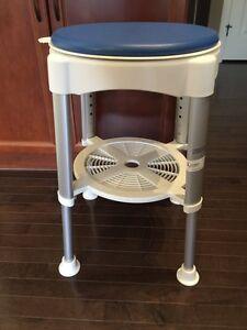 Shower stool, height adjust and swivel, like new $30