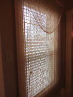 Pair (2 sets) of fringe 100% polyester curtains with valances