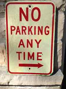 "VINTAGE "" NO PARKING ANY TIME "" WOODEN SIGN - PARKER PICKERS -"