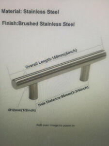 Kitchen Drawer Pulls Brushed Nickel 3-¾ Inch Hole Centres