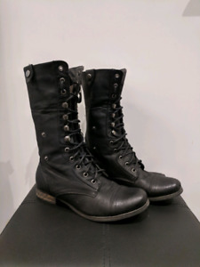 Leather Boots - Combat Style size 8.5