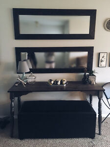 Console Table, Leather Ottoman, Wood Mirrors