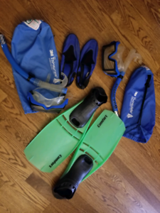 Snorkels,  flippers, mask, water shoes etc