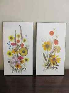 Pair of Vintage Britzke Botanical Plaques