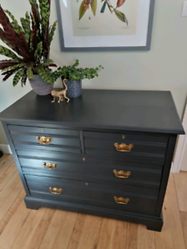 Vintage Antique painted chest of drawers Sideboard dark blue gold