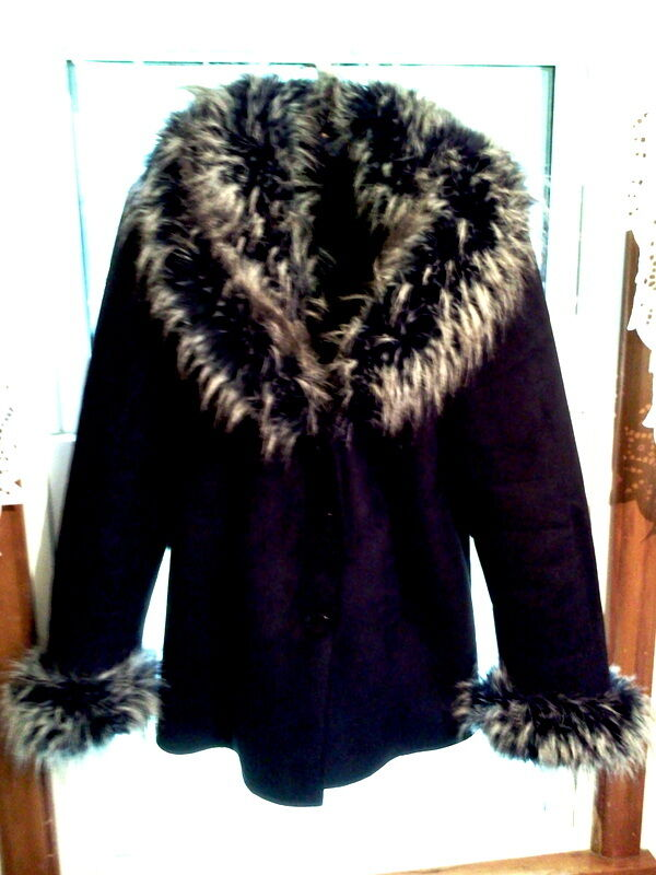 POLISH FAKE SILVER FOX FUR TRIMMED FAKE SUEDE FAKE