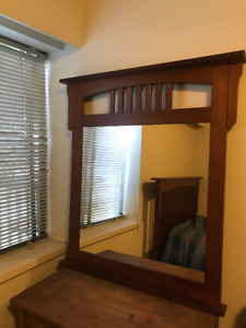 Queen Size Bed Frame with mattress and matching mirror