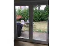 French doors UPVC, Wooden Oak blinds