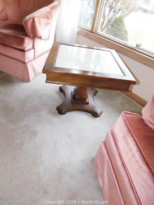 Heavy, solid wood squared table w/ceramic top