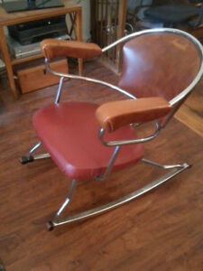Vintage Retro Chrome and Leather Rocking Chair