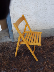 Three Solid Wood Folding Chairs