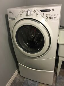 Whirlpool Duet Front Loading Washer and Dryer with Pedestals