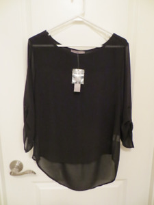 For Sale: Sheer Black Blouse – Brand New!