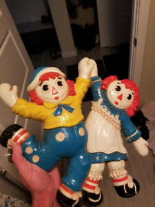 1977 Vintage Raggedy Ann & Andy In Love Dancing Doll Wall Decor