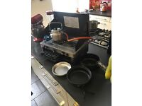 Camping stove, pans and kettle