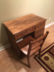 Vintage Wood Children's Desk and Chair with Drawers