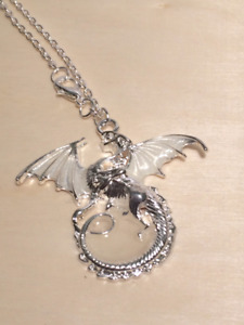 Glow in the Dark Dragon Necklace, Silver